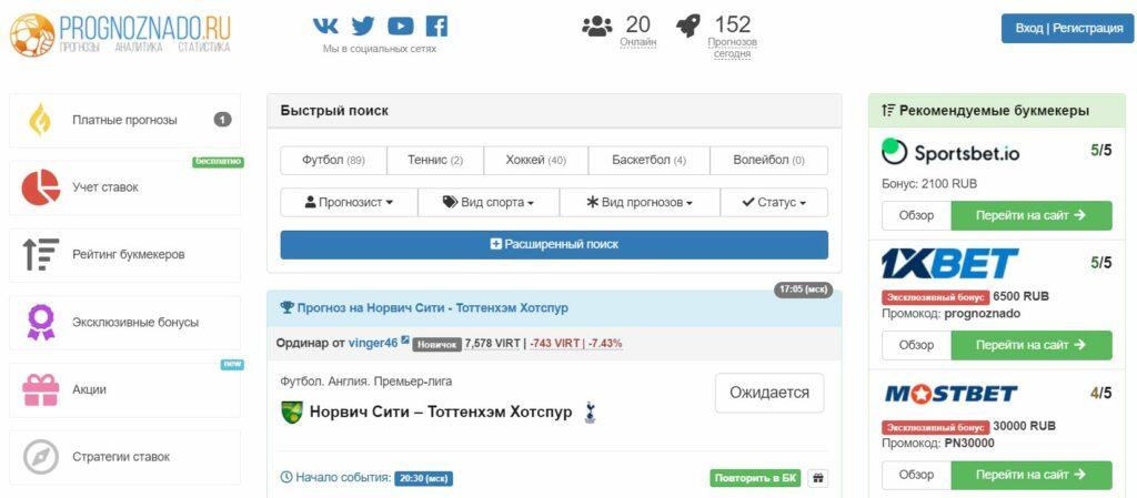 Прогнозы от каппера Prognoznado(Прогнознадо ру)