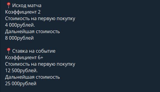 Стоимость платных прогнозов на канале Артем Городецкий