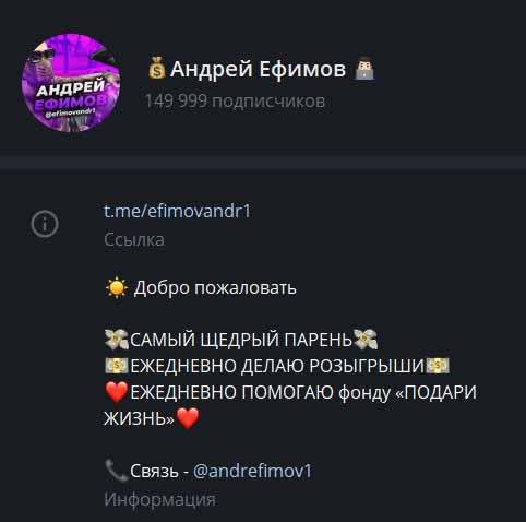 андрей ефимов информация о канале