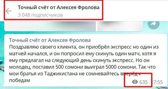 Подписчики и просмотры Телеграмм канала Точный счёт от Алексея Фролова