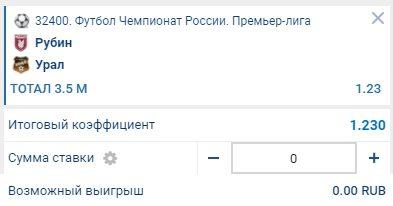Ставка на матч Рубин - Урал