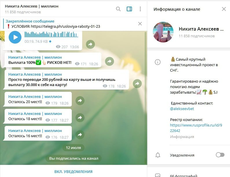 Телеграмм Никита Алексеев