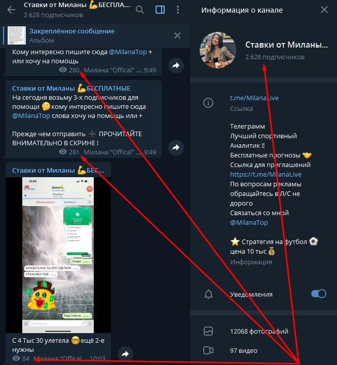 Телеграмм канал Ставки от Миланы