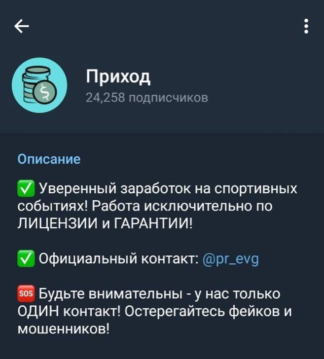 Телеграмм канал о заработке Приход