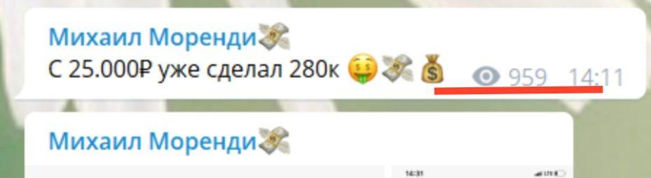 Телеграм канал Михаил Моренди - просмотры