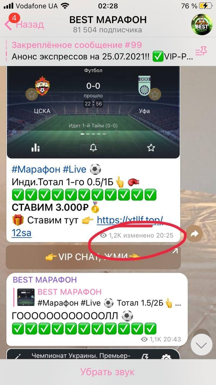 Изменение постов в Телеграмм канале Best Марафон