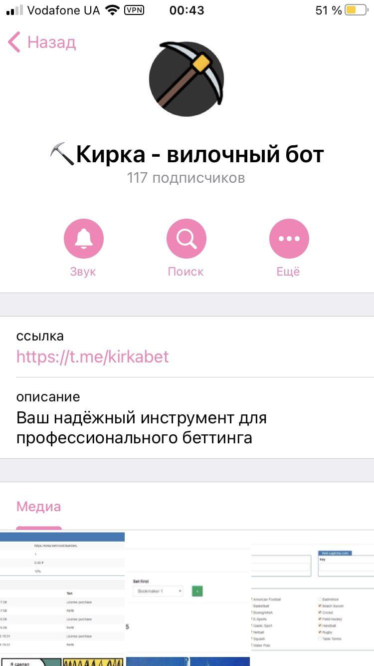 Kirka.bet - Телеграмм бот, предназначенный для поиска вилок на различных бк