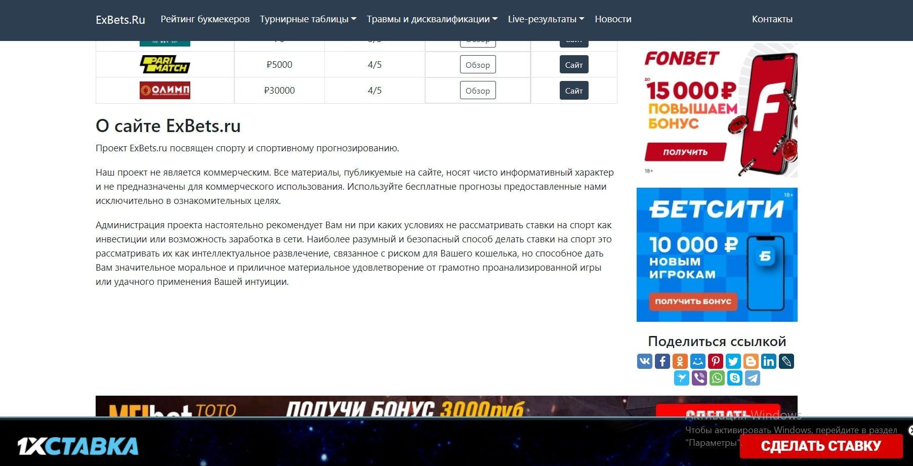 О сайте Exbets.ru