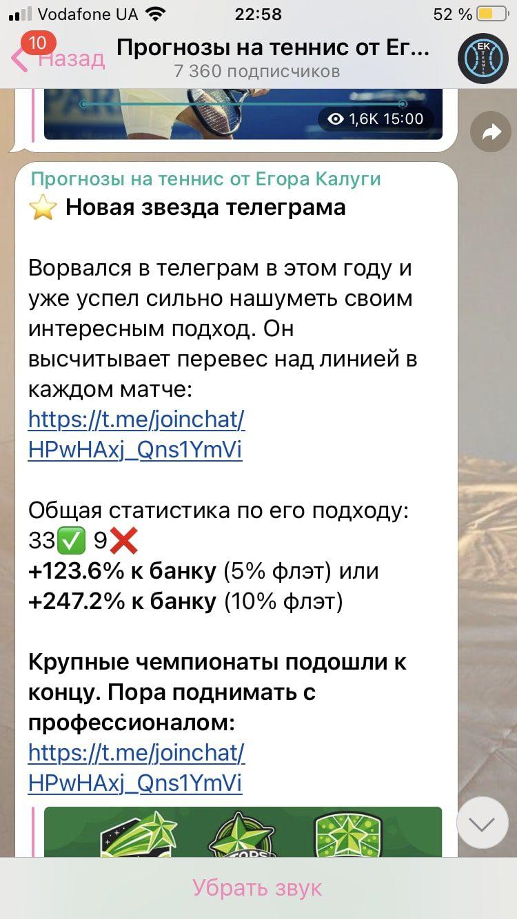 Прогнозы на теннис от Егора Калуги в Телеграм