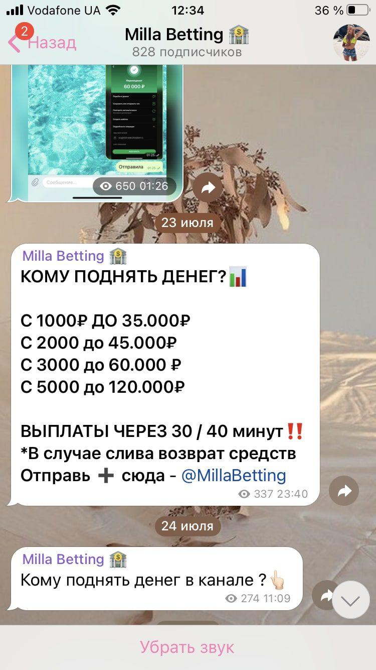 Цена услуг от Телеграмм каппера Милы Васнецовой