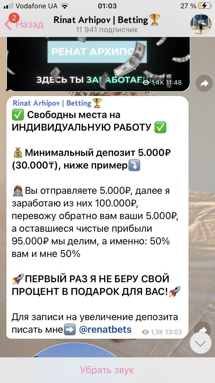 Цена услуг Renabets Рината Архипова