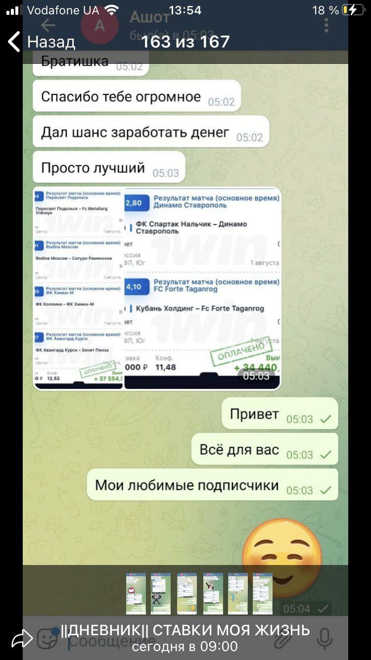 Фейковые отзывы в Телеграм Дневник Ставки моя жизнь