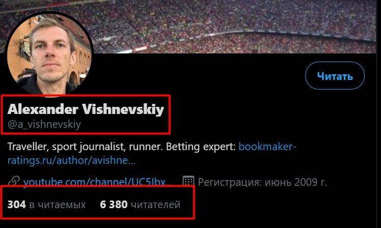 Каппер Александр Вишневский в Твиттере