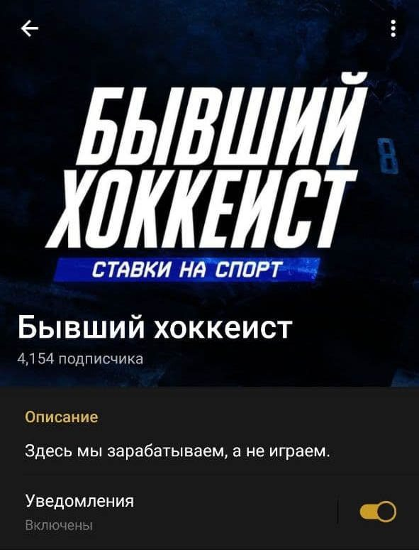 Бывший хоккеист - Телеграмм канал