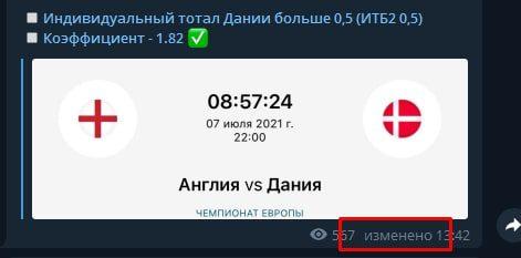 Телеграмм каппера Футбольный маньяк - корректировка прогнозов