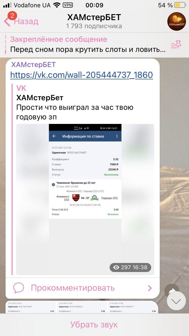 Телеграм каппера Хамстербет