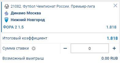 Ставка на матч Динамо Москва - Нижний Новгород