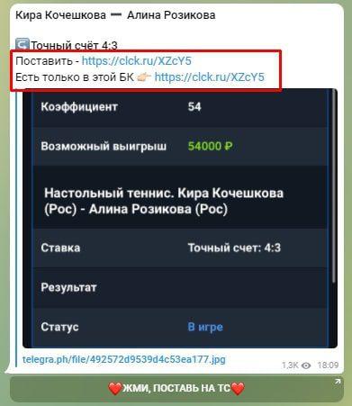 Телеграмм Точный счет от Алёны - реклама БК