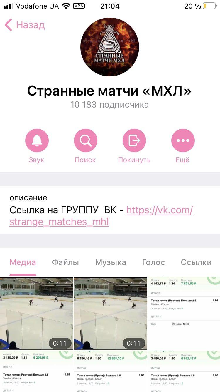 Каппер Странные матчи МХЛ в Телеграм