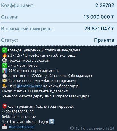 Investjanzak в Телеграм - стоимость услуг