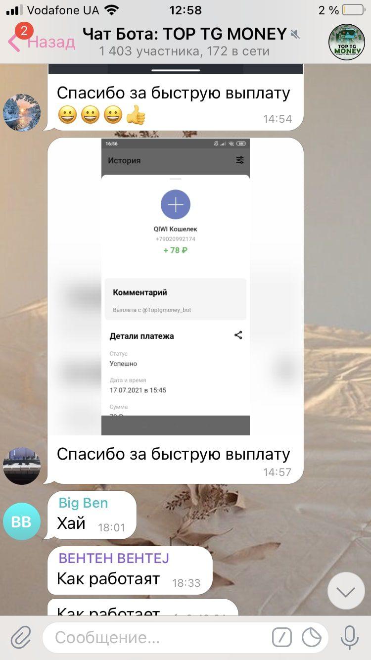 Toptgmoney Telegram bot - скриншоты выплат