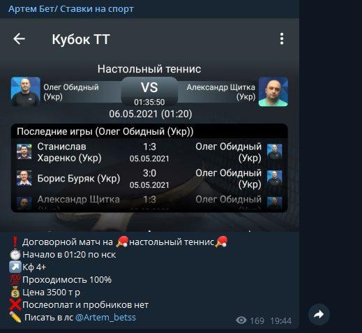 Договорные матчи в Телеграмме Артем бет