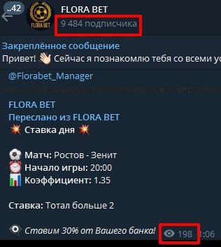 Каппер Флора Бет в Телеграмм - подписчики и просмотры