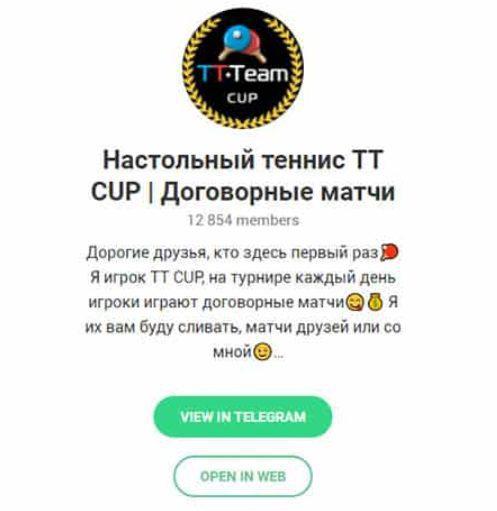 Телеграм канал ТТ Team Cup с прогнозами на настольный теннис