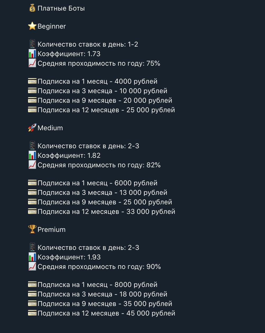 Цены на подписки бота Вонт Резаулт