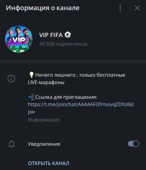 vip fifa информация о канале